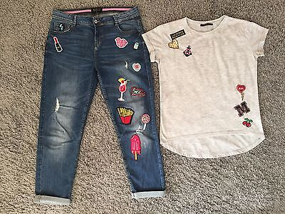 Mohito Jeans (Size 34) And Top (Size Xxs) Patches Bundle