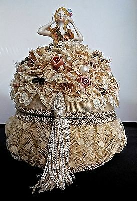 Lavishly Adorned Vintage Jewelry Box Forms Gown For Delicate Vintage Half Doll