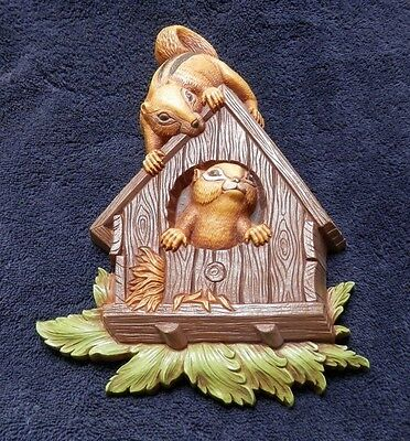 Vintage Homco - Home Interiors and Gifts Chipmunks Wall Plaque