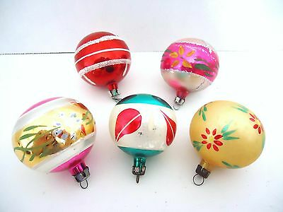 Vintage Christmas ornaments small glass multi colored ornaments set of 5