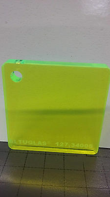 Fluorescent Green Acrylic Sheet. 3mm  A4 Laser Craft Hobby Altuglas perspex