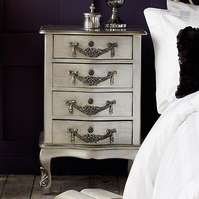 PAIR! Beautiful French Style Bedside Table Silver 4 Drawer Cabinet Ornate Louis