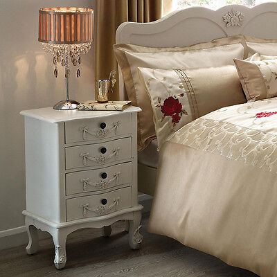 Beautiful Rococo French Style Bedside Table White 4 Drawer Cabinet ORNATE Classy