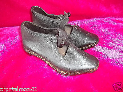 Gorgeous Antique Childs Leather and Wood Shoes / Lancashire Clogs