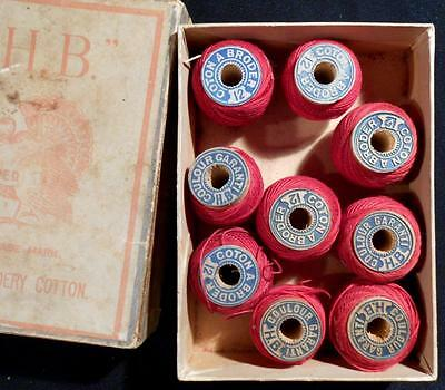 Rare Vintage Box Of H.b.turkey Red Embroidery Cotton, 9 Spools, C1885