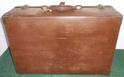 Antique Hardboard Suitcase Trunk with Key