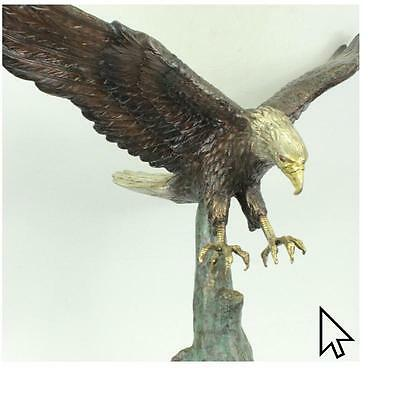 Real Bronze EAGLE LARGE AND SIGNED COLLECTOR MAGNIFICE Sculpture Statue