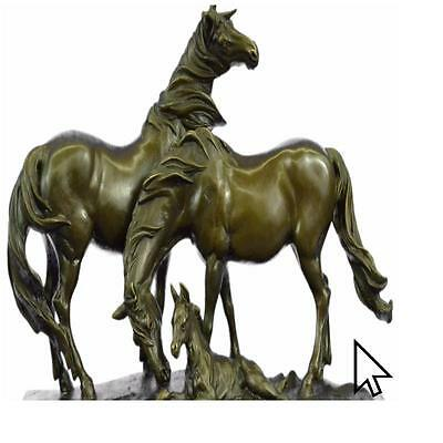 Real Bronze HORSES HARMONY STALLION HOT CAST MARBLE BAS Sculpture Statue