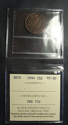 1894 Netherlands Bronze 2-1/2 Cent  SILVER ICCS GRADED VF-20 XNH 739