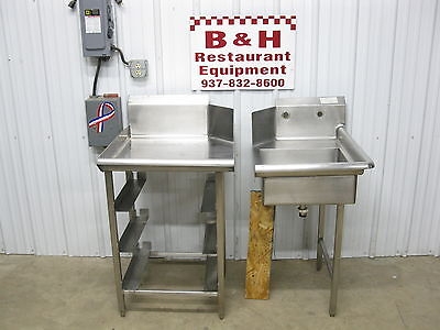"""22"""" Stainless Right Dirty Sink + 25"""" Clean Left Clean Hobart Dish Washer Tables"""