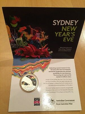AUSTRALIEN SYDNEY 2017 NEW YEARS'S EVE  $1 Coloured Fine Silver Frosted   UNC