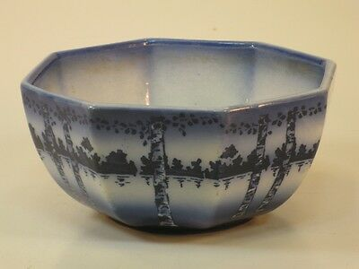 Art & Crafts Birch Tree Potery Bowl Flow Blue