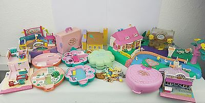polly pocket bundle 10 × Mix Cases , Compacts . Houses , few figures