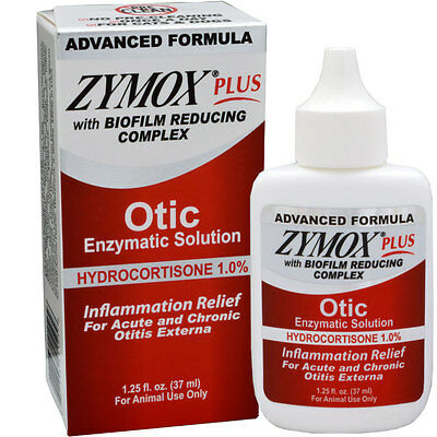 ZYMOX PLUS OTIC- HC w/Biofilm  Treats Toughest Ear Infections Cats Dogs 1.25oz.