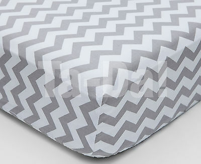 Cot / Cot Bed grey chevron fitted sheet 100% cotton