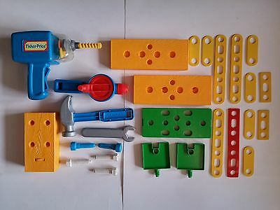 Vintage Fisher Price Toy Tool Lot 1990 Power Drill w/ Bit + Accesories 28 Pieces