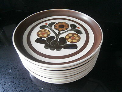 """9 x Denby Langley Mayflower 10""""  Dinner Plates - Immaculate Condition"""