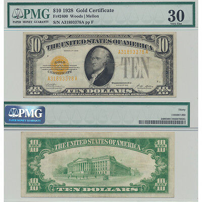 1928 Fr#2400 Gold Certificate PMG Certified Very Fine 30 Small Size US Currency