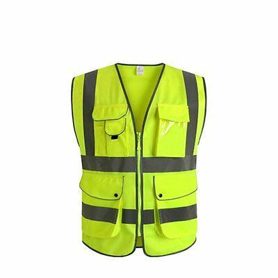 J.K 9 Pockets Class 2 High Visibility Zipper Front Safety Vest With Strips, #GB