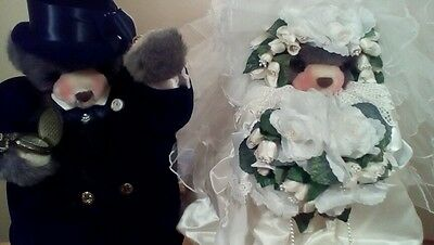 Bride and groom Teddy Bears Artist Lita Gates Apple Whimseys -B.Taylor