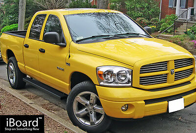 "Matte Black 4"" Running Boards 02-08 Dodge Ram 1500 03-09 Ram 2500/3500 Quad Cab"