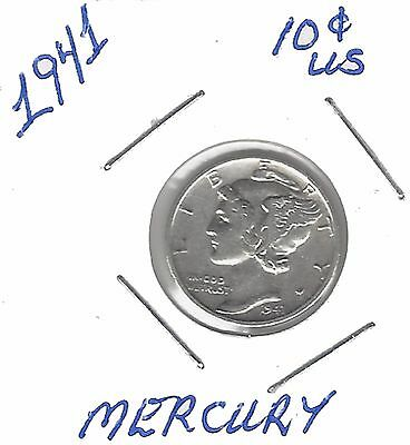 US 1941 Mercury Dime .900 Silver....Must See !!