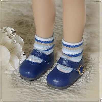 "FOOT PETALS Doll Socks for 13"" Little Darling Effner Betsy McCall - StripeBluGry"