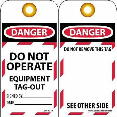"NMC LOTAG13 Lockout Tag, ""DANGER - DO NOT OPERATE - EQUIPMENT TAG-OUT,"" 6"" x 3"""
