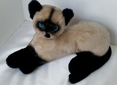 "1973 Dakin SIAMESE CAT 14"" Laying Plush Blue Eyes Vintage Stuffed Animal"