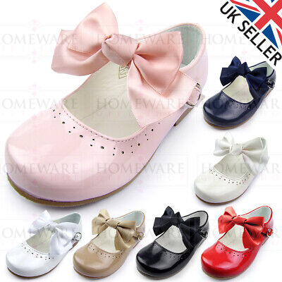 Girls Spanish Style Bow Shoes Mary Jane Patent Pink White Ivory Navy Camel Uk4-2