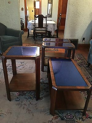 Vintage Set of 4 Art Deco Cobalt Blue Mirror Glass Walnut Tables