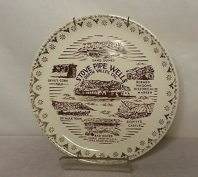 Vintage Stove Pipe Wells Death Valley 7 inch Collectors Plate / Gold Trim