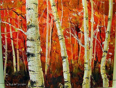 Birch trees & fall foliage autumn colours acrylic on canvass hand painted