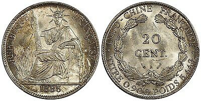 French Indochina 20 Cents 1885A PCGS MS63