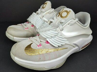 360147a09093 Nike KD 7 Youth Size 4.5Y Aunt Pearl GS White Gold Pink Pure Platinum 745407