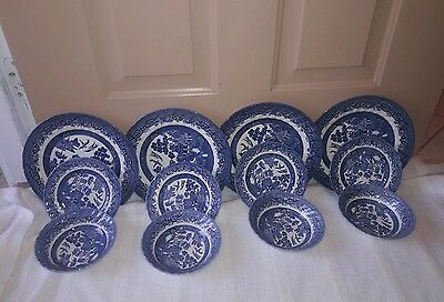 12 piece set  Royal Wessex Blue Willow Dinnerware.