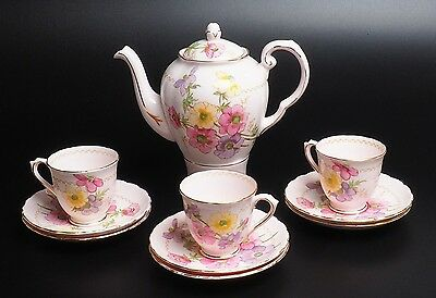 Tuscan Fine China England Pink Floral Teapot With Three Cups And Six Saucers