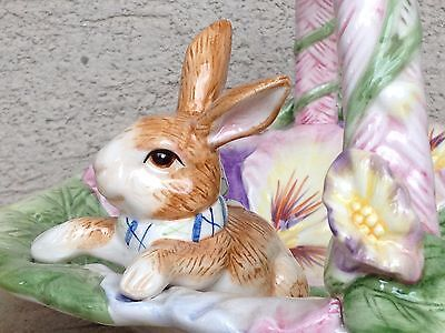 REPAIRED Fitz & Floyd HALCYON Ceramic Easter Handled Basket Dish Bunny w Box