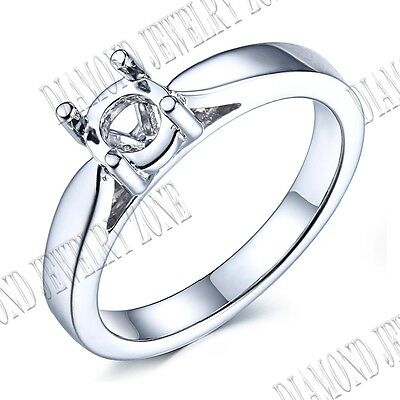 Size 6mm Sterling Silver 925 Plate White Gold Prong Setting Simple Style Ring
