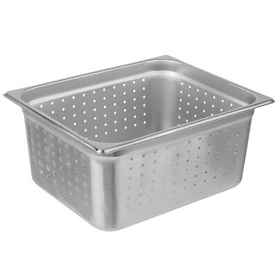 """(6-Pack) 1/2 Size 6"""" Deep Perforated Silver NSF Stainless Steel Steam Table Pans"""