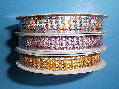Lot Of 3*rhinestone Trim*color-Coordinated*3 Ft Pieces*new*on Reel*