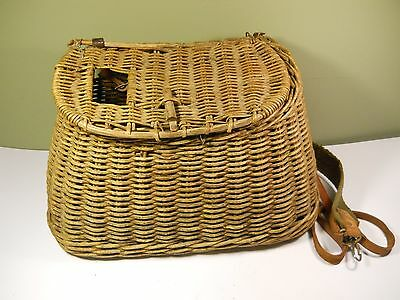 Antique Wicker Basket Trout Fly Fish Fishermans Fishing Creel