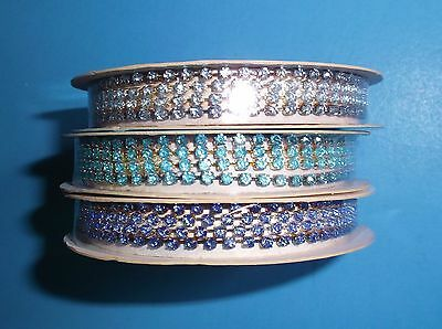Lot Of 3*rhinestone Trim*shades Of Blue*3 Ft Pieces*new*on Reel*