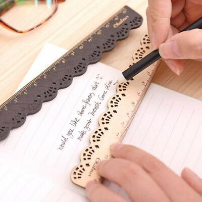 PC Korea Zakka Kawaii Cute Stationery Lace Wood Sewing Ruler Measuring Tapes New
