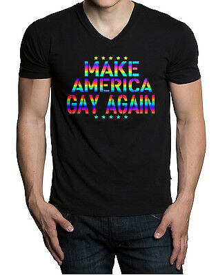 a0228a3561 Men's Rainbow Foil Make America Gay Again V-Neck Black T-Shirt LGBT Pride
