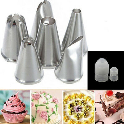 6X Cake Cup Icing Piping Nozzle Pastry Tips Decor Tools+ 2X Cake Coupler Adaptor