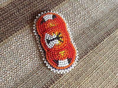 Native American Beaded Hair Barrette Handmade Beadwork Red Teepee