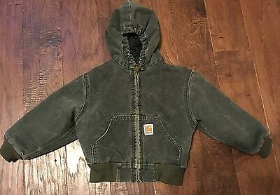 Carhartt Toddler Boy Insulated Gray Hooded Zip Up Jacket, Size 4T