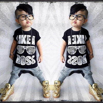 US Stock 2PCs Newborn Toddler Baby Kids Boy Clothes T-shirt Top+Pants Outfit Set