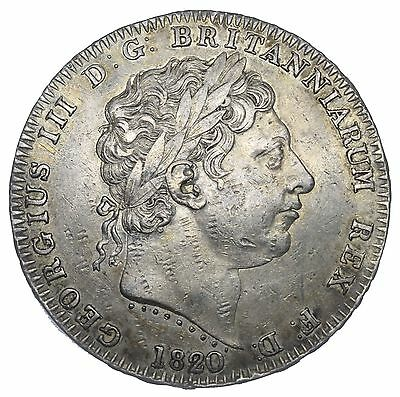 1820 Crown - George Iii British Silver Coin - V Nice
